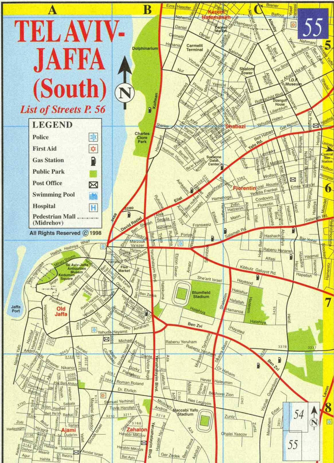 tel aviv city map. herzeliya city map